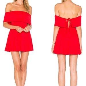 LPA Revolve 265 Cayenne Red Off The Shoulder Dress